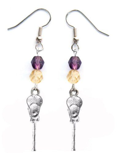 ''Lacrosse Stick & Ball'' Lacrosse Earrings (Team Colors Purple & Gold) by Edge Sports
