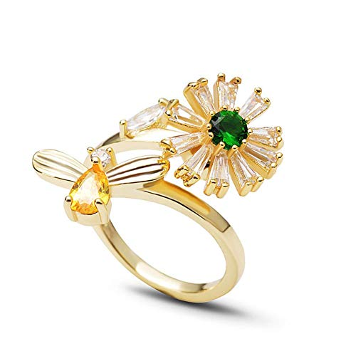 ISAACSONG.DESIGN 925 Sterling Silver Flower, Love Heart, Cat Charm with Crystal Adjustable Stacking Ring for Women and Girls (Yellow Gold Daisy & bee Spin Ring) ()