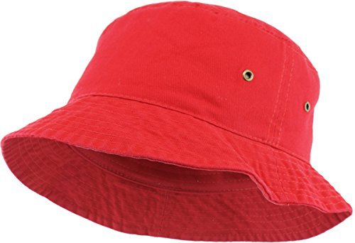 KBM-500 RED L/XL Travel Packable Summer 100% Cotton Unisex Bucket Hat for Women and Men -