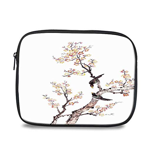 (Art Durable iPad Bag,Traditional Chinese Paint of Flowers Plum Blossom Birds on Tree Romance Print Decorative for iPad,10.6