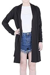 Modeway Womens Long Sleeves Shawl Collar Open Front Drape Jersey Long Cardigans
