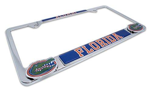 Premium All Metal NCAA Gators Alumni License Plate Frame w/Dual 3D Logos (Florida)