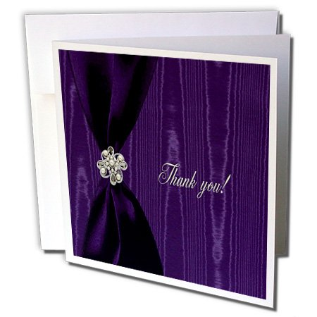 3dRose Satin Ribbon with Jewel on Moire, Purple - Greeting Cards, 6 x 6 inches, set of 12 (gc_40398_2)
