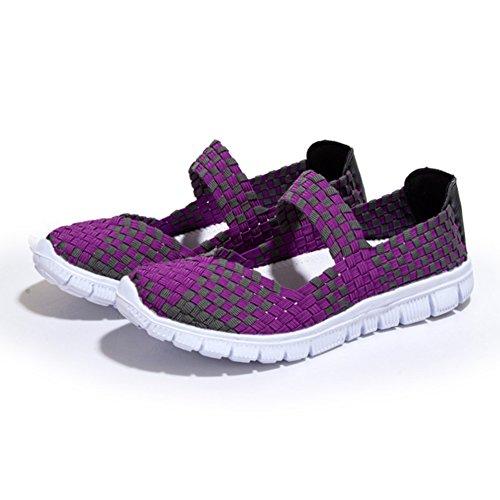 leichte L Frauen Casual Schlupf Schuhe Sportschuhe RUN Wasser Lila auf gewebt 4rgqXrw