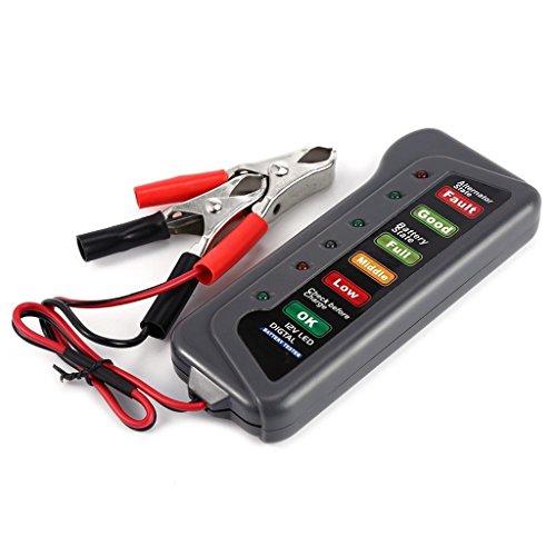 DSstyle 12V Digital Battery Alternator Tester For Car Motorcycle Trucks with 6 LED Lights Vehicle Diagnostic Tool