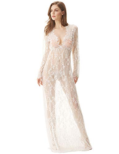 cunlin Cover Up for Women Sexy See Through Lace Gown Maxi Maternity Dress Photography Props White L