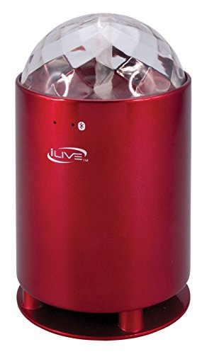 iLive Portable Wireless Speaker with LED Light Effects, 3.23 x 3.23 x 5.71 Inches, Red (ISB46R) (Bluetooth Speaker Wireless Gpx)