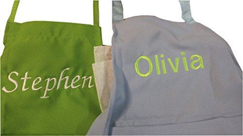 CHEFSKIN Personalized Embroidery Apron Choose Color and Name (Adult) White