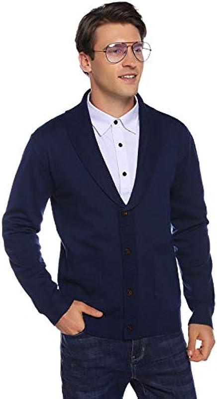 Abollria męska kurtka z dzianiny z długim rękawem, kardigan, wycięcie w kształcie litery V, dzianina, sweter, drobno tkana, z listwą guzikową: Odzież