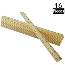 16 Packs Wood Ruler 12 Inch 30 cm Student Rulers Wooden School Rulers Office Ruler Measuring Ruler, 2 Metric Scales