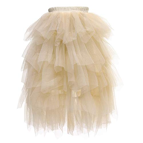 Flower Girls Tutu Lace Cake Dress Skirts Princess Birthday Party Dresses (Beige Skirts, 2T)