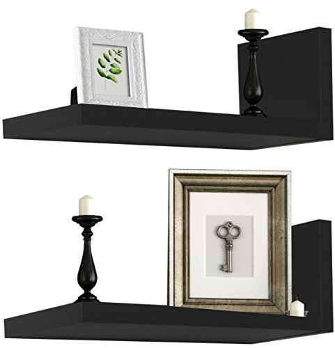 Espresso L-shape Storage Shelf (Sorbus Floating Shelves — L Shaped Hanging Wall Shelves for Decoration — Perfect for Trophy Display, Photo Frames, Collectibles, and Much More, Set of 2 (Black))