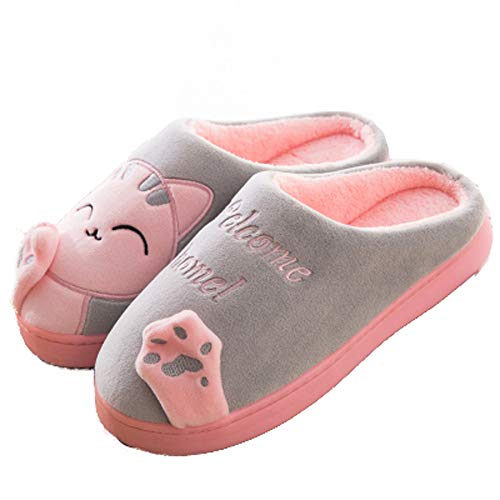 House Fuzzy Soft Cute Cat Plush Warm Slippers Grey Shoes Home Women Toe Closed gvq1q