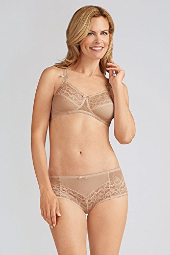 Amoena Women's Karla Cut and Sewn Wire-Free Bra, Nude, 40C (Amoena Lace Soft Cup)