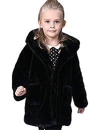 JERY Stylish Little/Big Girls Faux Fur Winter Coat Hooded Warm Jacket Outerwear