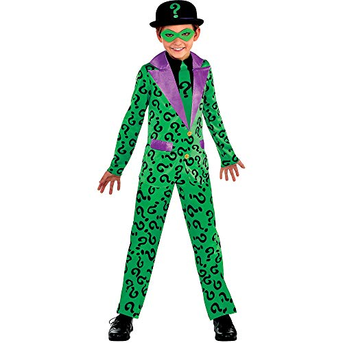 Suit Yourself Batman Classic Riddler Costume for Boys, Size Medium, Includes a Jumpsuit, an Eye Mask, and a Black Hat