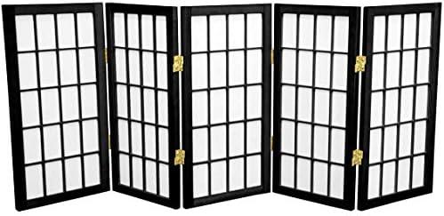 Oriental Furniture 2 ft. Tall Desktop Window Pane Shoji Screen – Black – 5 Panels