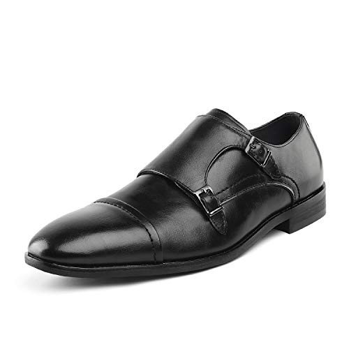 Bruno Marc Men's HUTCHINGSON_2 Black Classic Oxfords Formal Monk Strap Dress Shoes Size 12 M US