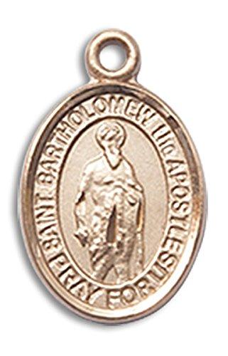 (14 Karat Gold Saint Bartholomew the Apostle Medal Petite Charm Pendant, 1/2 Inch)
