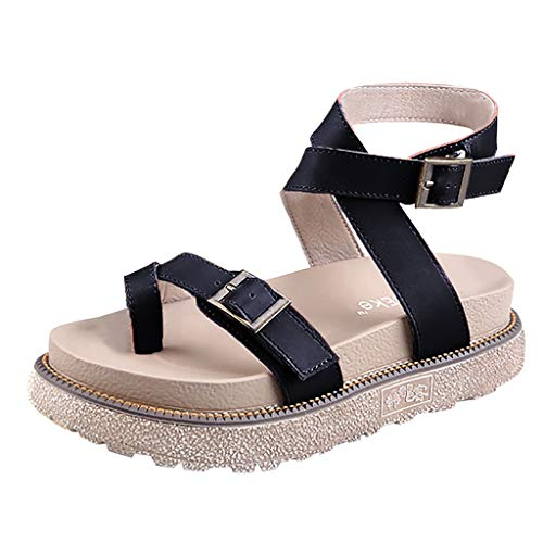 Womens Flat Sandals - 【MOHOLL 】 Toe Loop Cork Thong with Ankle Strap Comfort Outdoor Shoes Black