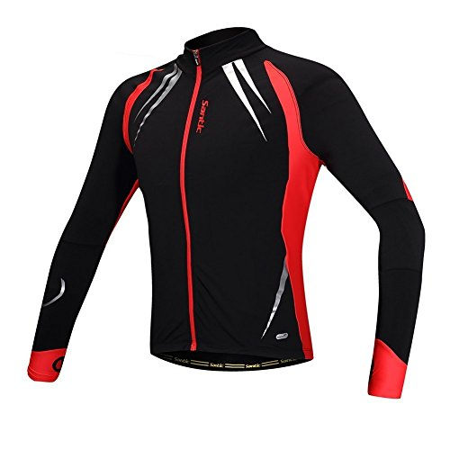 Fleece Jersey Jacket (Santic Men's Cycling Jacket Windproof Fleece Thermal Winter Bike Bicycle Jersey Red XX-Large)