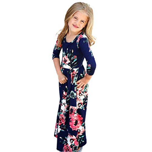 PENATE Baby Girl Fashion Flower Print Princess Party Dress Long Skirt Dance Robe (Navy, 7T)]()