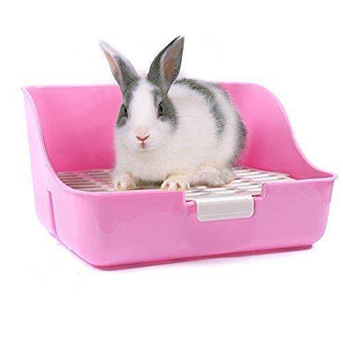 M-Aimee Square Potty Trainer Corner Litter Bedding Box Pet Pan for Small Animal/rabbit/guinea Pig/galesaur/ferret(Pink Color)