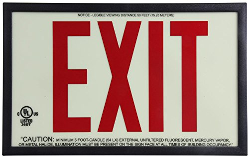Jessup Glo Brite 7310 P50 Eco Exit Sign, Single-Sided with Plastic Frame, 7.5