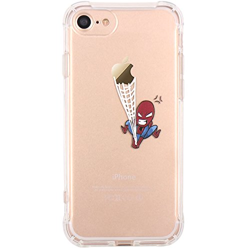 JAHOLAN iPhone 7 Case, iPhone 8 Case Amusing Whimsical Design Clear Bumper TPU Soft Case Rubber Silicone Cover for iPhone 7 iPhone 8 - Spider ()