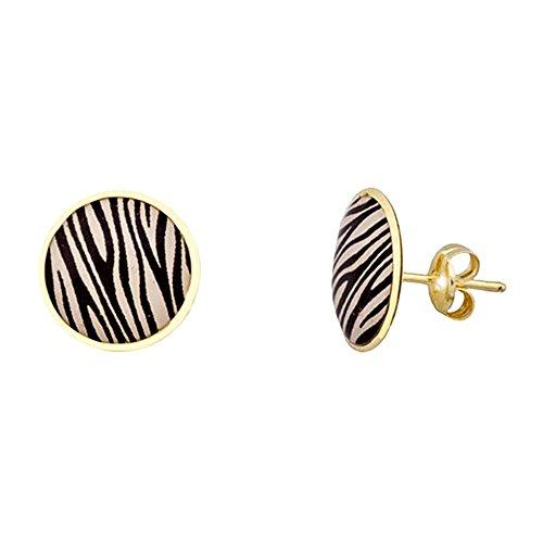 Boucled'oreille 18k ronde 11mm en or. Zebra [AA5578]
