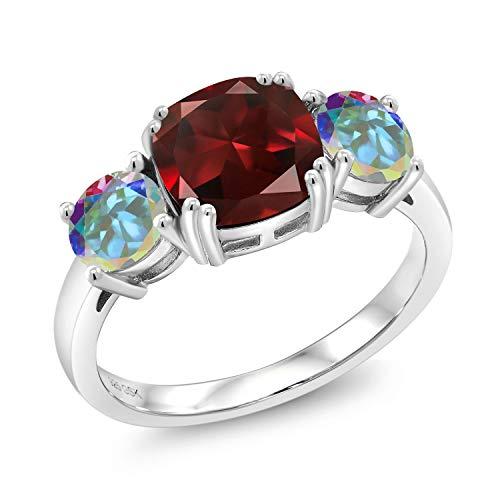 Gem Stone King 2.74 Ct Cushion Red Garnet Mercury Mist Mystic Topaz 925 Sterling Silver Meghan Ring (Size 9) (Mercury Mist)