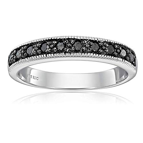 1/4 cttw Black Diamond Ring With Milgrain in .925 Sterling Silver Size 7 ()