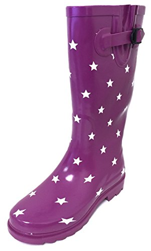 G4U Women's Rain Boots Multiple Styles Color Mid Calf Wellies Buckle Fashion Rubber Knee High Snow Shoes (6 B(M) US, Purple/White Stars)
