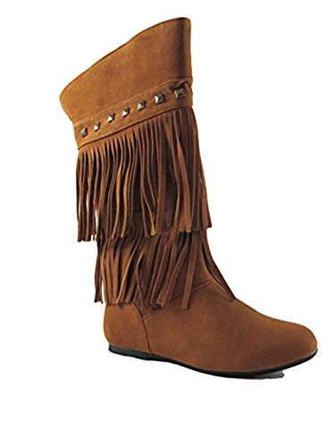YOKI Trina 03K Little Girls Moccasin 2 Layer Fringe Boots,Rust,4