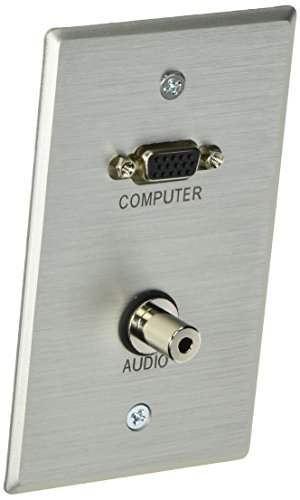 C2G 40505 VGA and 3.5mm Audio Pass Through Signle Gang Wall Plate, Brushed Aluminum