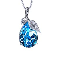 """SIVERY """"Teardrop of Angel"""" Pendant Necklace Jewelry, Made with Ocean Blue Swarovski Crystals"""