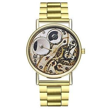 Relojes Hermosos, Hombre Mujer Reloj creativo único Reloj de Moda Chino Cuarzo Cronógrafo Esfera Grande Fase lunar Acero Inoxidable Banda Moda Dorado ...