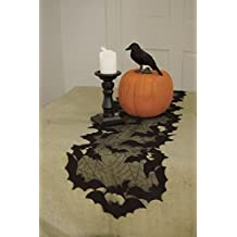 """Heritage Lace Halloween Going Batty Table Runner 14"""" x 48"""" Black"""