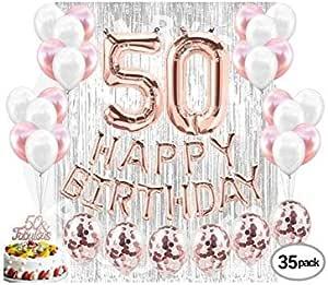 زخرفة حفلات أعياد الميلاد 50 من لوازم حفلات أعياد الميلاد 50 لافتة علوية من الكعك بلون ذهبي وردي وبالونات كونفيتي من الفضة لها ستارة خلفية