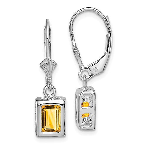 925 Sterling Silver 7x5 Yellow Citrine Leverback Earrings Lever Back Drop Dangle Fine Jewelry Gifts For Women For Her
