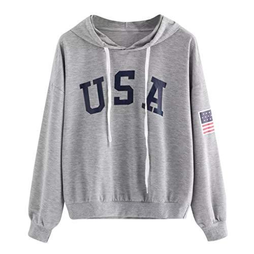 Women's Long Sleeve Letter Flag Print Sweatshirt Crop Top Hoodies, American Flag Print Hoodie Top Blouse (Gray, L)