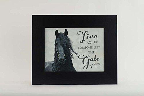 Summer Snow Live Like Someone Left The Gate Open Friesian Black Horse Framed Art (Black Frame)