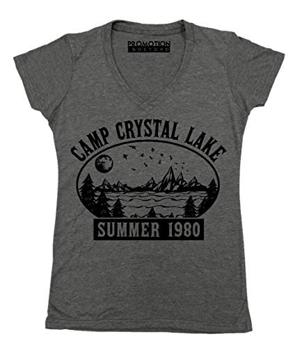 Promotion & Beyond Camp Crystal Lake Halloween Parody Costume Women's V-Neck, XL, Heather Charcoal