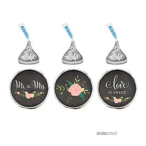 Andaz Press Chalkboard Floral Party Wedding Collection, Chocolate Drop Labels for Hershey's Kisses Party Favors, Mr. & Mrs. Love is Sweet, 216-Pack, Envelope Seals Stationery