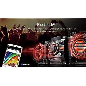 LG Mini HiFi System CM4360 (SGBRLLK) – Multi Bluetooth Wireless Powerful 230W RMS with CD /FM RDS / USB / Sound Sync for TV/ Auto DJ – Remote