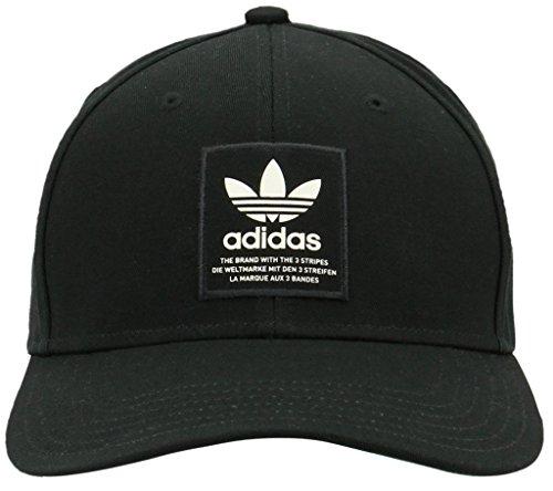 adidas Men's Originals Trefoil Patch Snapback Structured Cap, Black/Chalk White, One Size