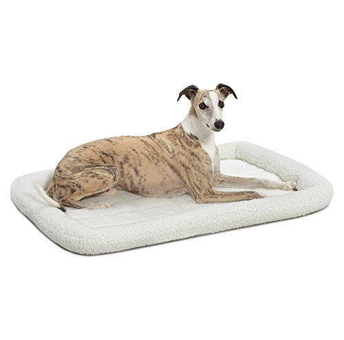 36L-Inch White Fleece Dog Bed or Cat Bed w/ Comfortable Bolster | Ideal for Medium / Large Dog Breeds & Fits a 36-Inch Dog Crate | Easy Maintenance Machine Wash & Dry | 1-Year Warranty