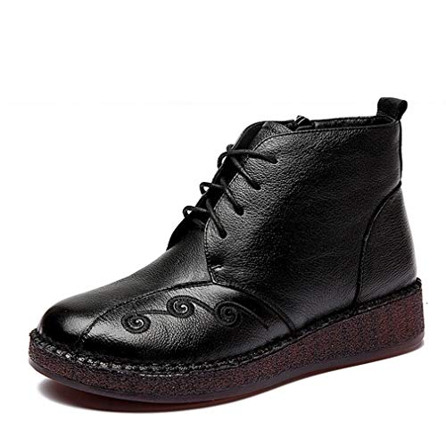 Negro Cuero Correa Cremallera Yan Madres De Zapatos Para Mujer Retro Plus Algodón Invierno rqO7Fgqfz