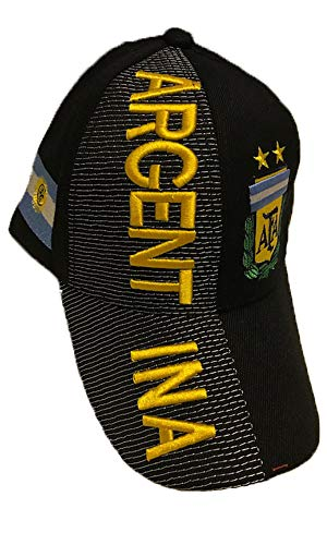 Baseball Caps Hats with Five 3D Embroideries - Countries of Americas (Country: Argentina - Black)