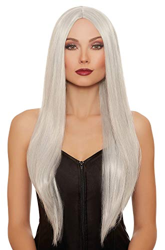 (Dreamgirl Women's Extra-Long Straight Gray/White Mix Wig, Grey, One Size)